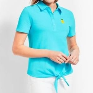 Talbots Preppy Light Blue Pineapple Front Tie Polo